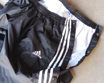 90's ADIDAS TRACK PANTS Metal Snap Tear Away Pants Adidas Track Pants Metal Snap Oversized Women's  Men's Lg.