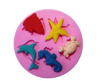 Silicone Mold: Ocean Mold, Sealife mold, Sea Horse Mold, Starfish Mold, Fish Mold, Dolphin Mold, Crab Mold, Beach Mold, Summer Mold, MOL006