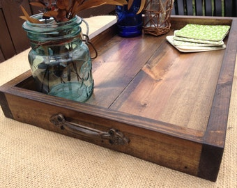 Wooden Tray, Rustic Wooden Tray, Wooden Ottoman Tray, Ottoman Tray