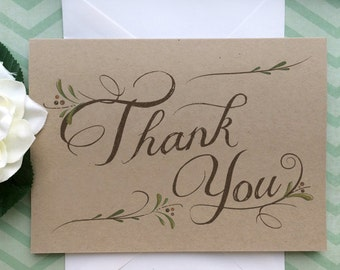 Thank You Cards Set of 8 - Wedding Thank You Cards - Thank You Folded Note Card