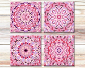 4x4 Mandala Art Images, Printable Traditional Patterns, Pink Motifs, Instant Download for paper crafts, digital coaster images, New Age Art