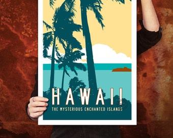 HAWAII Travel Poster Art, Personalized Print, Vintage Hawaiian Artwork, Tropical Decor, Retro Island Decor with Palm Trees. 20 x 30