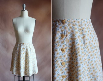 millésime 1990 jaune & vert floral imprimer bouton jupe patineuse mini / taille xs