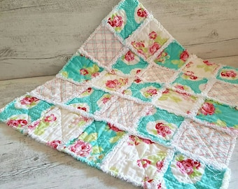 Toddler Baby Rag Quilt, Blue Baby Quilt, Cot Quilt, Crib Quilt, Nursery Decor, Baby Room Decor, Newborn Photography Prop, Baby Shower Gift.