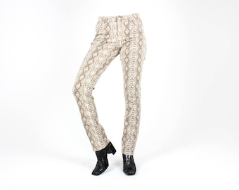 Y2K Millennium Babe SNAKESKIN Python Snake / Reptile Print Mid Waist Skinny Slim Jeans / Trousers / Pants