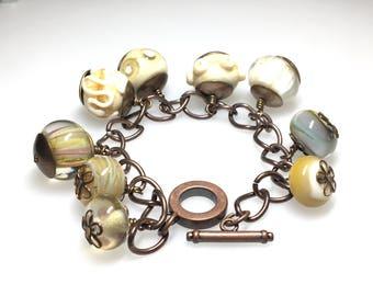Handmade Glass Beaded Bracelet/Handmade Ivory Glass Bead Bracelet/Ivory Glass and Copper Bracelet/Ivory Bracelet