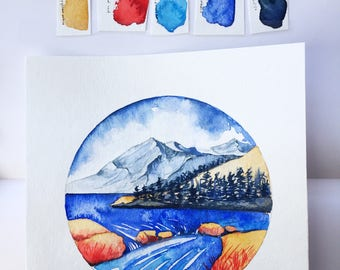 ORIGINAL watercolor painting - Red Valley - Mountain landscape river