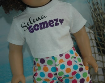 American, made, girl, boy, graphic, crop top, tee, shirt, fits, 18 inch doll, top, doll clothes