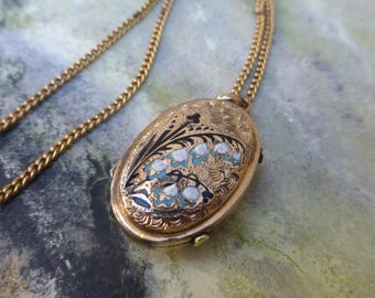 Victorian Mourning Locket, Antique Gold Plated Locket Charm and Chain, Victorian Locket Pendant