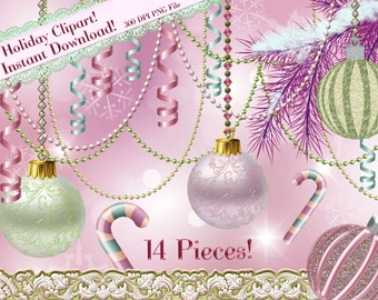 Christmas Clipart, Holiday Clipart, Pink Christmas, Pastel Christmas Graphics