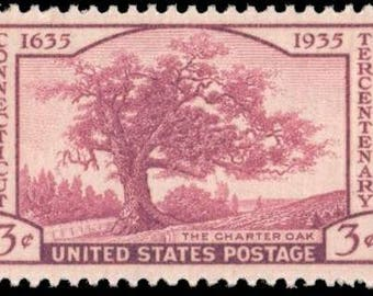 Five (5) vintage unused postage stamps - Connecticut // 3 cent stamps // Face value 0.15