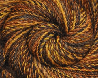 Hand spun yarn - Hand painted Blue Faced Leicester (BFL) wool, DK weight, 300 yards - Panning for Gold