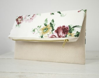 Romantic fold over clutch | Flower clutch | Bridesmaid purse gift