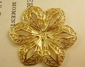 Natural Brass Stamped Filigree Flower