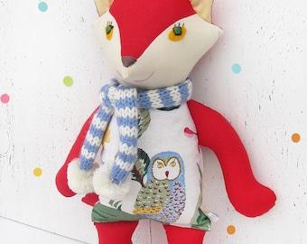 Stuffed toy red Joyful Fox  with owl print and scarf. Soft  winter woodland animal. Baby nursery decor. Red, white, blue toy