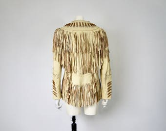 Vintage Beaded Tasseled Fringed Leather Jacket Western Cowboy Native American