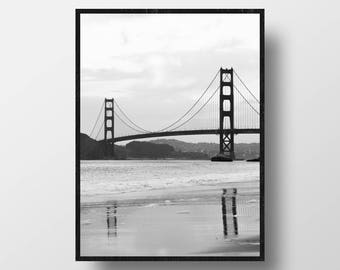 beach photography golden gate bridge black coastal wall art san francisco photography travel photography beach print coastal decor seascape