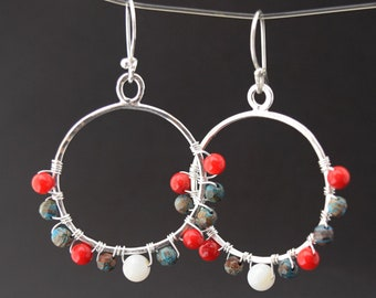 Silver Hoop Earrings in Red White and Blue Handcrafted from Argentium Silver, Mother of Pearl, Rainbow Casilica and Coral