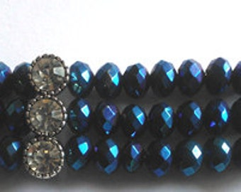 Blue Cuff Bracelet with diamante connections