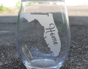 State Emblem Home Stemless 21oz wine glass/ Stemless Wine Glass/ Customized Wineglass/ State Wineglasse