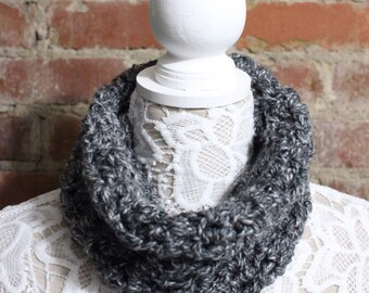 Textured Cowl Neck Scarf - Grey with Specs