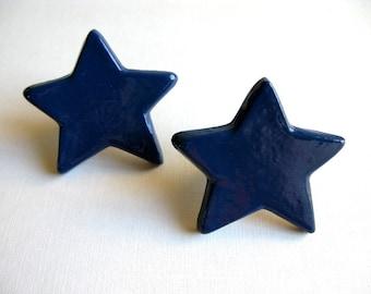 Navy Blue Star Drawer Knob