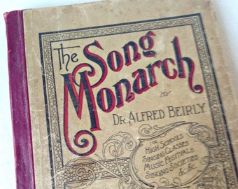 """Antique """"Song Monarch"""" Hymnal Song Book Songbook Victorian Sheet Music Paper Crafting Scrapbooking"""