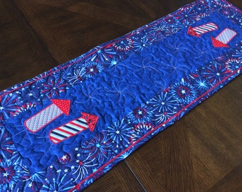 Rockets Red Glare Patriotic Quilted Table Runner - red, white, and blue table runner