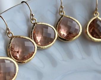 15% OFF SET OF 5 Wedding Jewelry Large Champagne Blush Earrings Gold Peach Pink - Wedding Earrings Bridal Earrings Bridesmaid Earrings