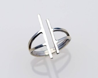 Geometric Ring - Stick Ring - Sterling Silver Ring - Statement Ring - Minimalist Ring- Frank Lloyd Wright Inspired - Everyday Ring R4103