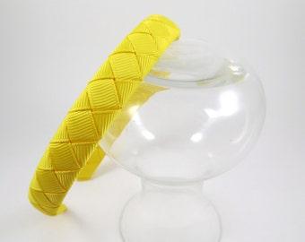 Yellow Headband - Headband - Hard Headband - Ribbon Woven Headband - Hard Plastic Headband - Child Toddler Teenager Adult Headband
