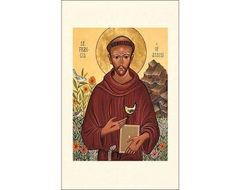 5 Icon Style Saint Francis of Assisi Holy Cards     (F-EE)