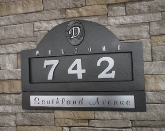 Monogram HOUSE NUMBERS Home Address Plaque