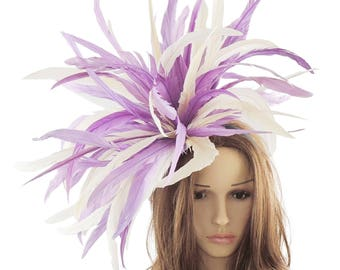 Lilac & Cream Feather Bomb Hat for Kentucky Derby, Weddings