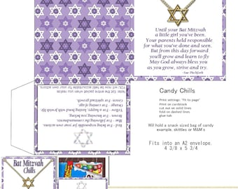 PRINT YOUR OWN Bat Mitzvah Chocolate Chills For M&M snack Bag