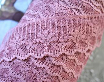 3Y Lace Trim Ribbon,  Vintage Dusty Mauve Candlewick