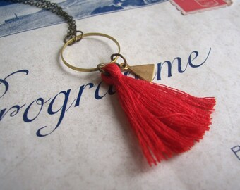 Red Tassel necklace with Triangle charm - cotton and brass on fine chain - modern jewellery