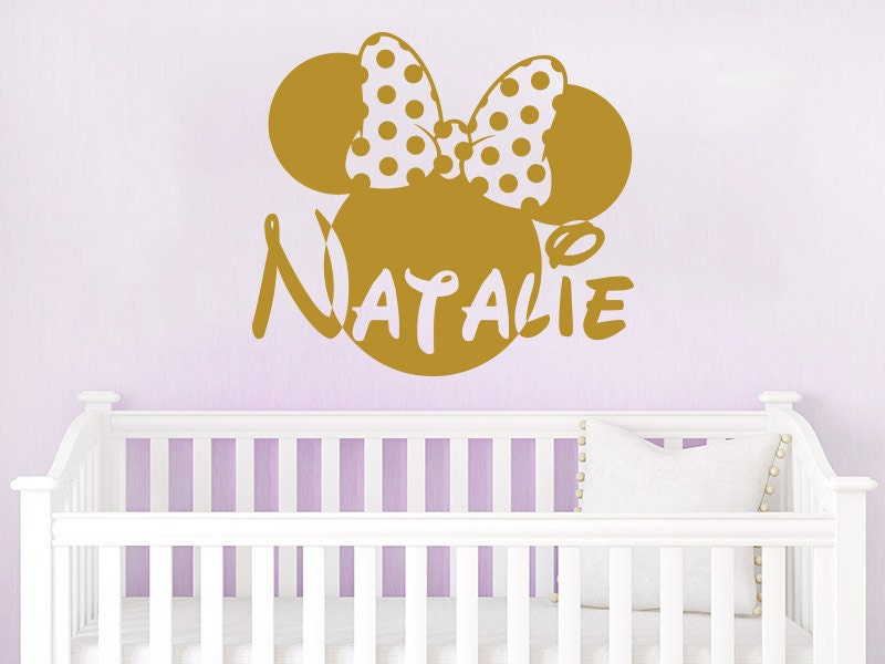 Wall Name Decal Minnie Mouse Head Bow Vinyl Decals Sticker