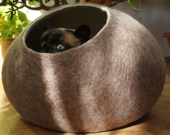Cat bed, house, cave. Size L. Natural sheep wool. Felted. Color sand brown. Made by kivikis.