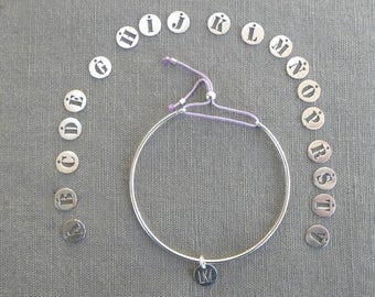 """Bracelet half silver wire ring simple """"initial"""""""