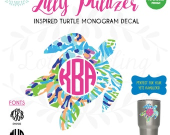 """Lilly Pulitzer Inspired Turtle Monogram Vinyl Decal 2""""-6"""" Two Colors Turtle Yeti Decal"""