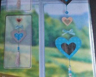 Kit te maken 1 Garland houten of 2 heart Hangers
