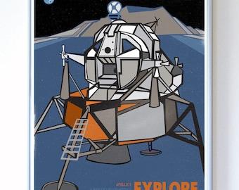 13 x 17 - Apollo 11 Lunar Mission Module Explore, Science Poster Art Print, Stellar Science Series™ - Wall Art