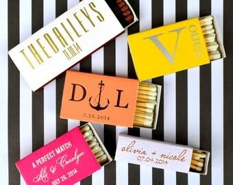 50 Foil Printed Personalized Matchboxes, Custom Wedding Matches, Personalized Bar Matches, Printed Wedding Matchbox