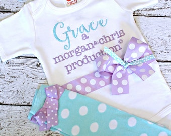 Personalized take home outfit for girls, baby name gown, Newborn girls coming home outfit, girls baby shower gift,  parents name production