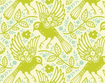 Up Parasol - Chartreuse Meadowlark by Heather Bailey from Free Spirit Fabric