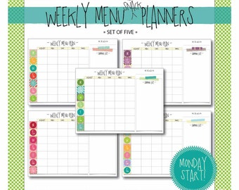 weekly menu & snack planner : monday start