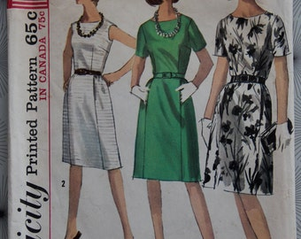 1960s Simplicity 5864 Misses One Piece Dress in Proportioned Sizes Bust 40