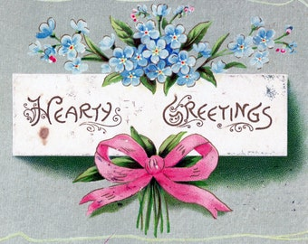 "1908 Postcard, ""Hearty Greetings"", Used"