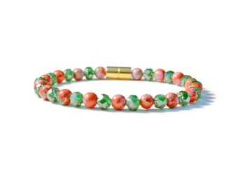 Emerald/Red Magnetic Therapy Bracelet with Magnetic Clasp